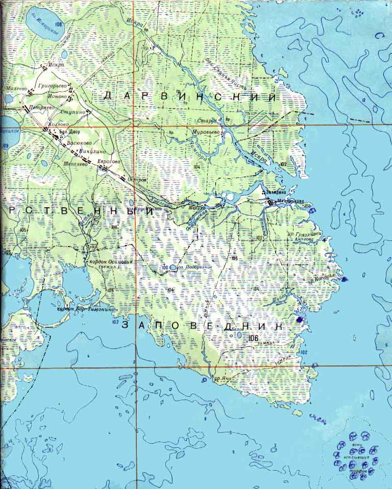 Дарвинский заповедник.  Карты водоёмов,Gps.  Категория.